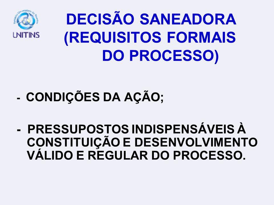 DECISÃO SANEADORA (REQUISITOS FORMAIS DO PROCESSO)