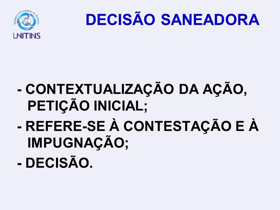 DECISÃO SANEADORA - CONTEXTUALIZAÇÃO DA AÇÃO, PETIÇÃO INICIAL;