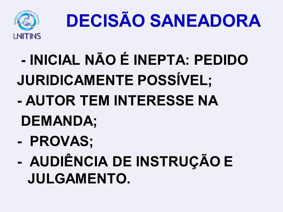 DECISÃO SANEADORA - INICIAL NÃO É INEPTA: PEDIDO