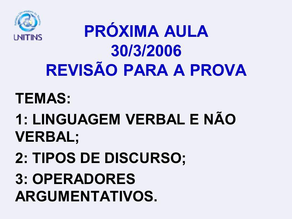 PRÓXIMA AULA 30/3/2006 REVISÃO PARA A PROVA