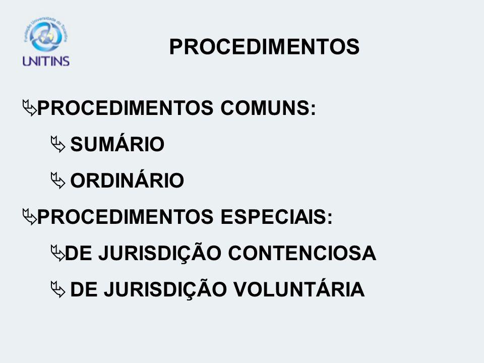 PROCEDIMENTOS PROCEDIMENTOS COMUNS: SUMÁRIO ORDINÁRIO