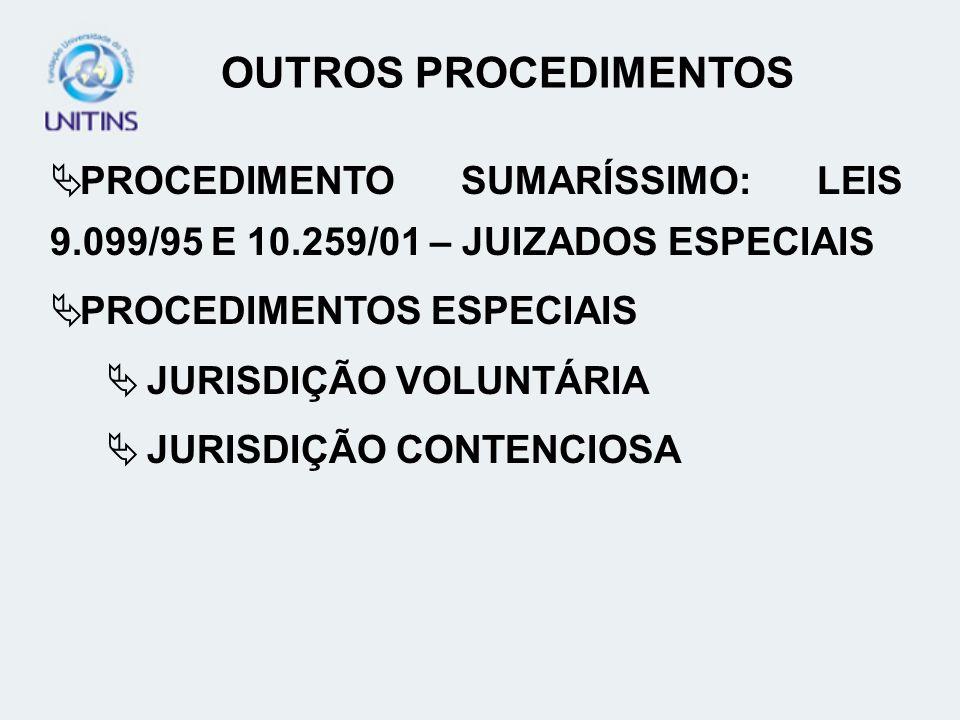 OUTROS PROCEDIMENTOS PROCEDIMENTO SUMARÍSSIMO: LEIS 9.099/95 E 10.259/01 – JUIZADOS ESPECIAIS. PROCEDIMENTOS ESPECIAIS.