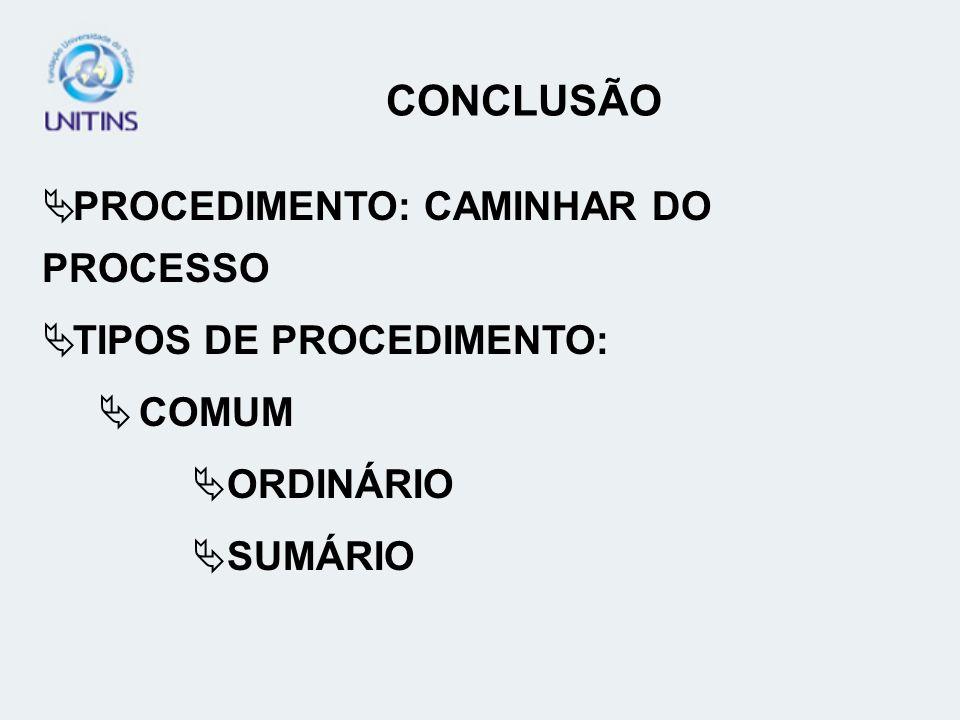 CONCLUSÃO PROCEDIMENTO: CAMINHAR DO PROCESSO TIPOS DE PROCEDIMENTO: