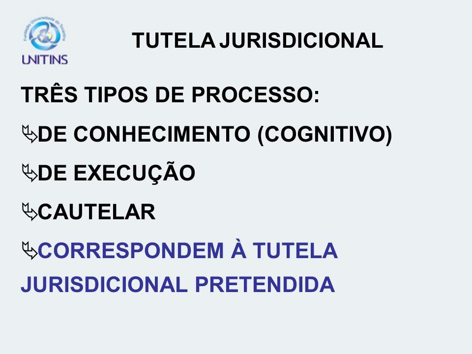 TRÊS TIPOS DE PROCESSO: DE CONHECIMENTO (COGNITIVO) DE EXECUÇÃO