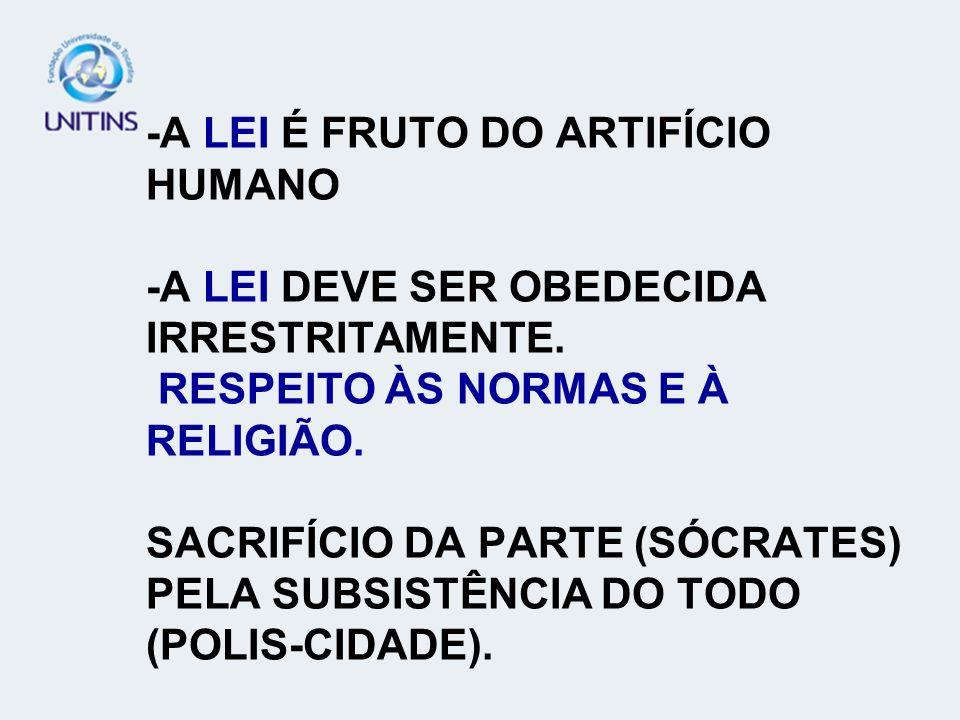 -A LEI É FRUTO DO ARTIFÍCIO HUMANO -A LEI DEVE SER OBEDECIDA IRRESTRITAMENTE.