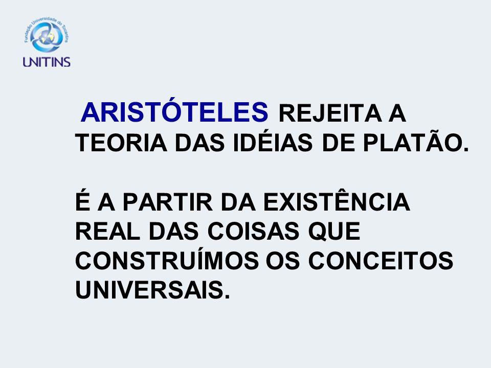 ARISTÓTELES REJEITA A TEORIA DAS IDÉIAS DE PLATÃO
