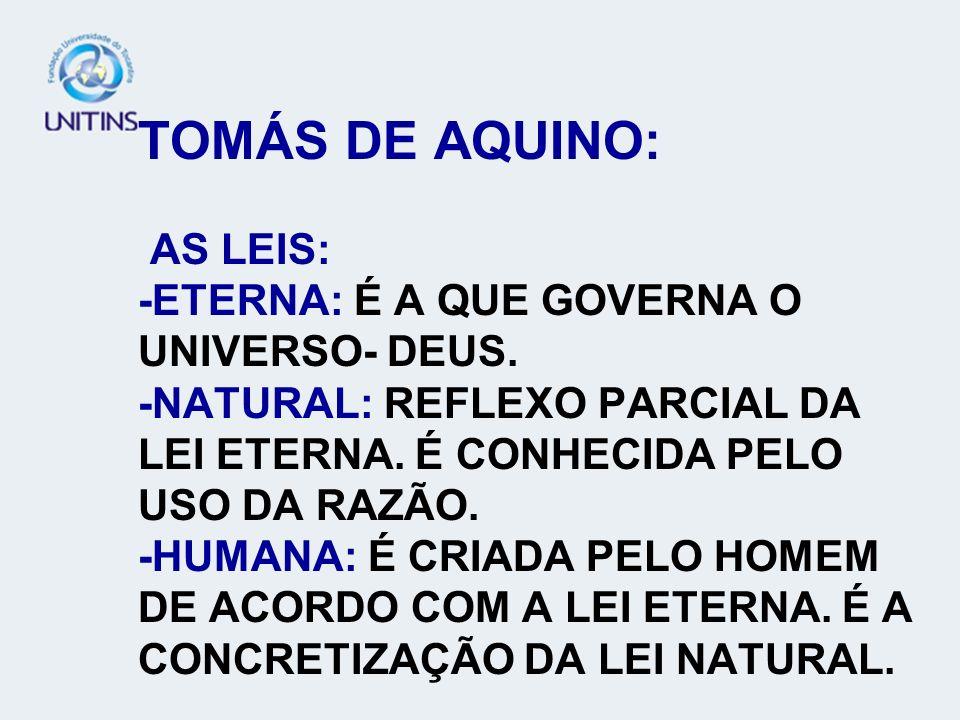 TOMÁS DE AQUINO: AS LEIS: -ETERNA: É A QUE GOVERNA O UNIVERSO- DEUS
