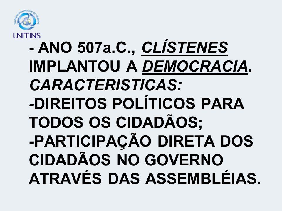 - ANO 507a. C. , CLÍSTENES IMPLANTOU A DEMOCRACIA