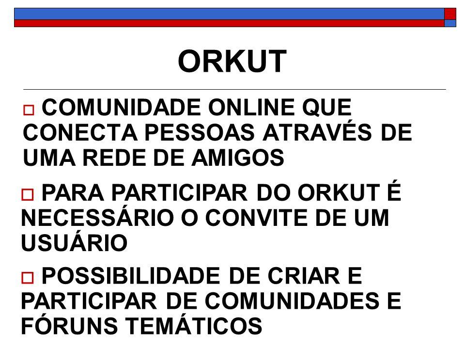 ORKUT PARA PARTICIPAR DO ORKUT É NECESSÁRIO O CONVITE DE UM USUÁRIO