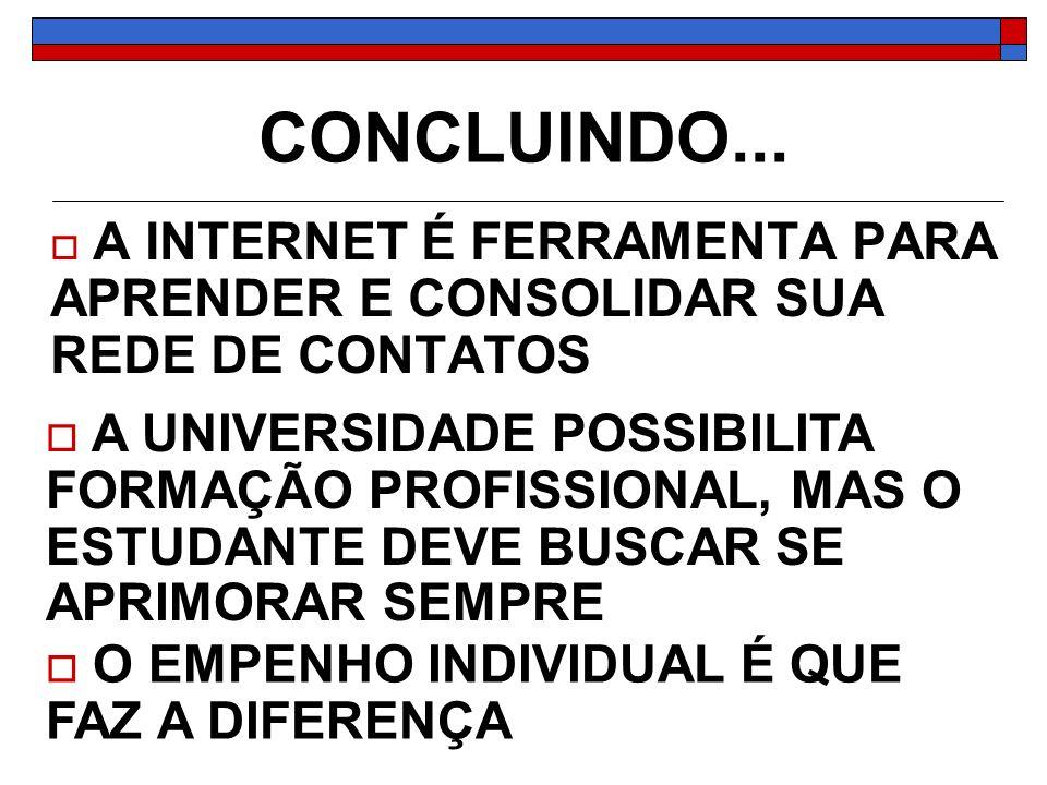 CONCLUINDO... A INTERNET É FERRAMENTA PARA APRENDER E CONSOLIDAR SUA REDE DE CONTATOS.