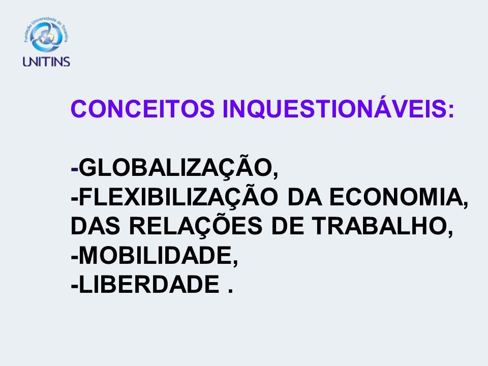 CONCEITOS INQUESTIONÁVEIS: -GLOBALIZAÇÃO, -FLEXIBILIZAÇÃO DA ECONOMIA, DAS RELAÇÕES DE TRABALHO, -MOBILIDADE, -LIBERDADE .