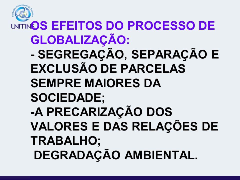 OS EFEITOS DO PROCESSO DE GLOBALIZAÇÃO: - SEGREGAÇÃO, SEPARAÇÃO E EXCLUSÃO DE PARCELAS SEMPRE MAIORES DA SOCIEDADE; -A PRECARIZAÇÃO DOS VALORES E DAS RELAÇÕES DE TRABALHO; DEGRADAÇÃO AMBIENTAL.