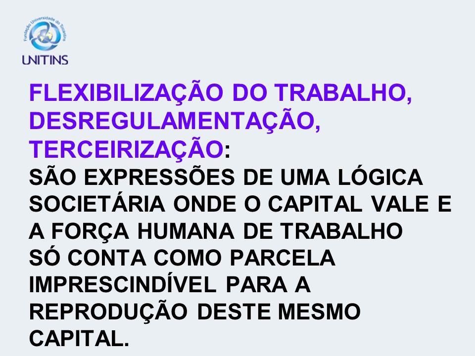 FLEXIBILIZAÇÃO DO TRABALHO, DESREGULAMENTAÇÃO, TERCEIRIZAÇÃO: SÃO EXPRESSÕES DE UMA LÓGICA SOCIETÁRIA ONDE O CAPITAL VALE E A FORÇA HUMANA DE TRABALHO SÓ CONTA COMO PARCELA IMPRESCINDÍVEL PARA A REPRODUÇÃO DESTE MESMO CAPITAL.