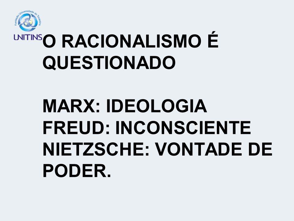 O RACIONALISMO É QUESTIONADO MARX: IDEOLOGIA FREUD: INCONSCIENTE NIETZSCHE: VONTADE DE PODER.