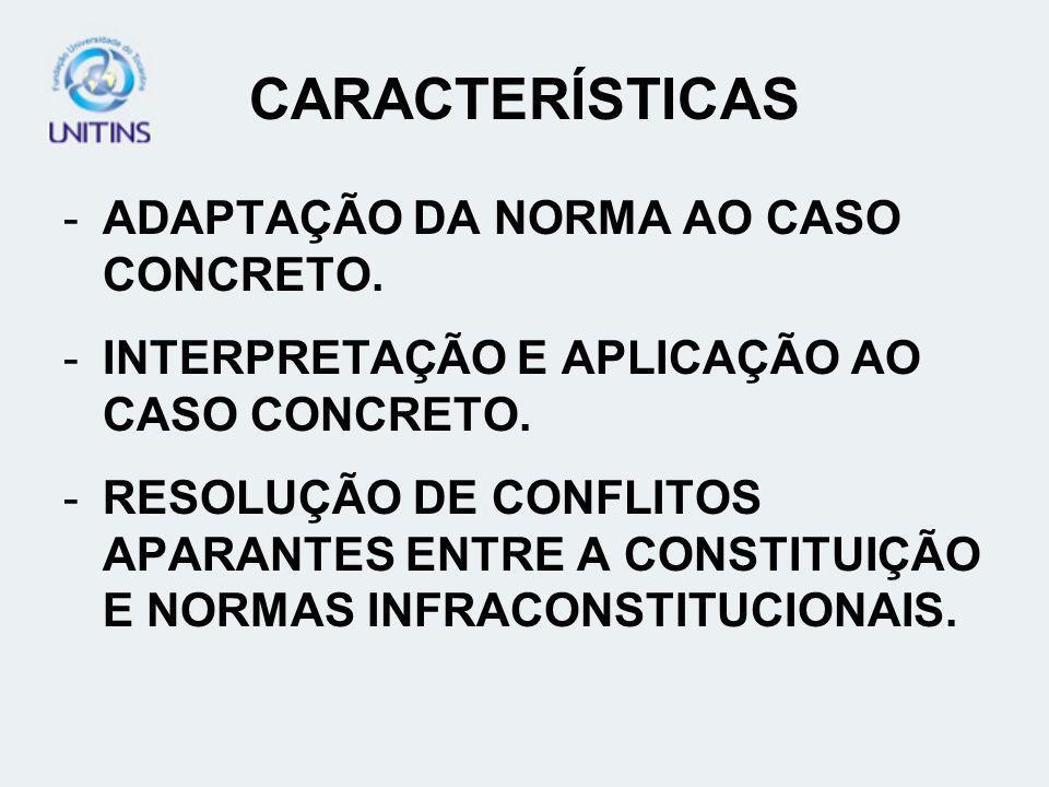 CARACTERÍSTICAS ADAPTAÇÃO DA NORMA AO CASO CONCRETO.