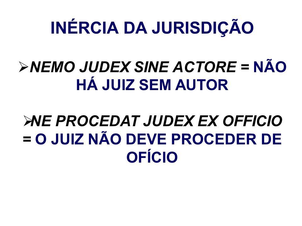 NE PROCEDAT JUDEX EX OFFICIO = O JUIZ NÃO DEVE PROCEDER DE OFÍCIO