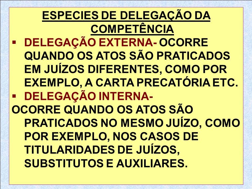 ESPECIES DE DELEGAÇÃO DA COMPETÊNCIA