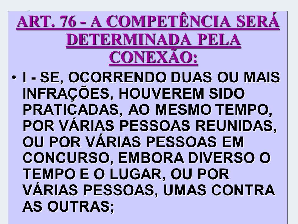 ART. 76 - A COMPETÊNCIA SERÁ DETERMINADA PELA CONEXÃO: