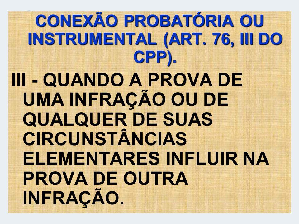 CONEXÃO PROBATÓRIA OU INSTRUMENTAL (ART. 76, III DO CPP).