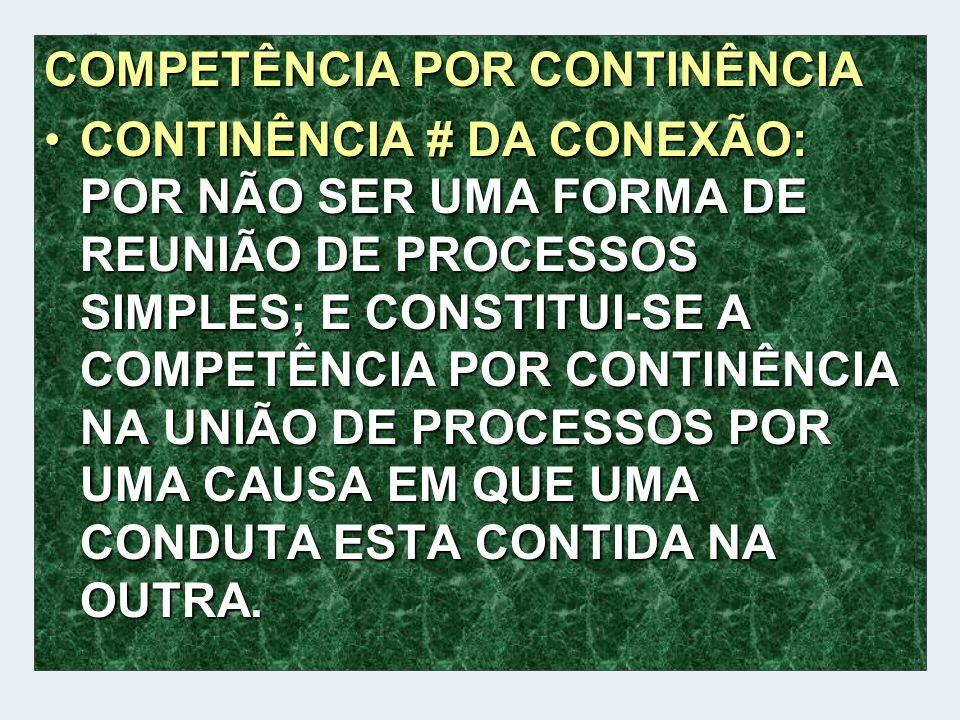 COMPETÊNCIA POR CONTINÊNCIA