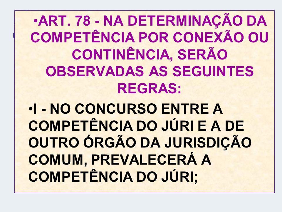 ART. 78 - NA DETERMINAÇÃO DA COMPETÊNCIA POR CONEXÃO OU CONTINÊNCIA, SERÃO OBSERVADAS AS SEGUINTES REGRAS: