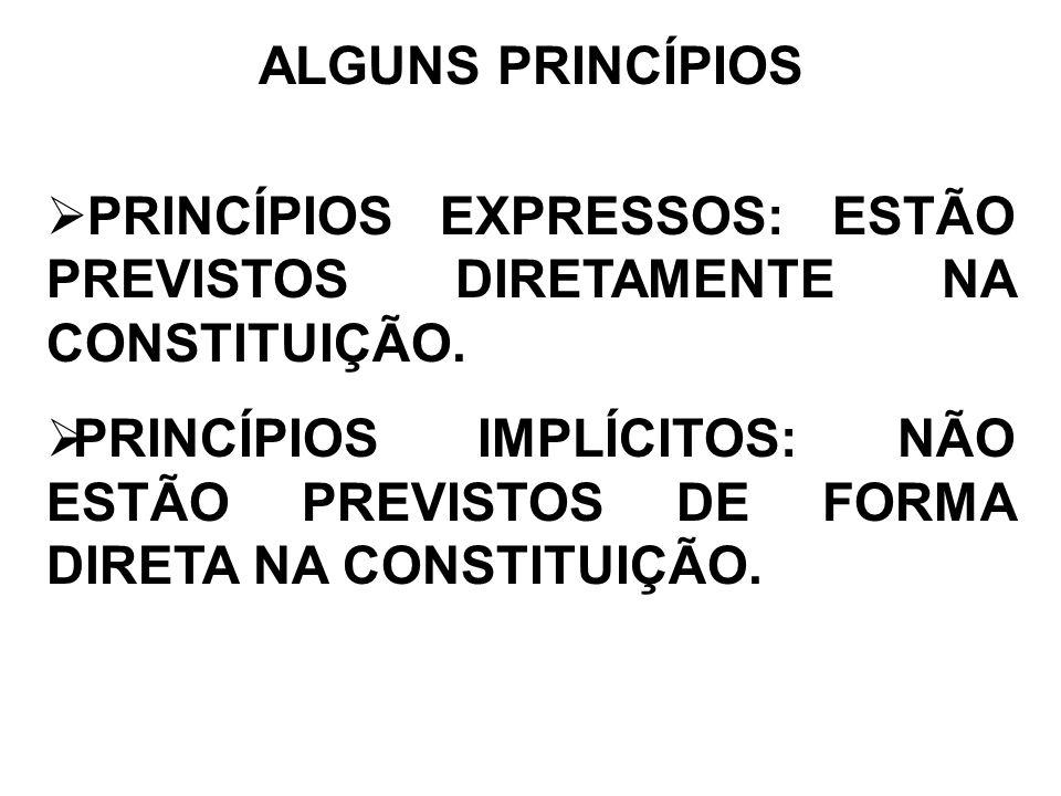 ALGUNS PRINCÍPIOS PRINCÍPIOS EXPRESSOS: ESTÃO PREVISTOS DIRETAMENTE NA CONSTITUIÇÃO.