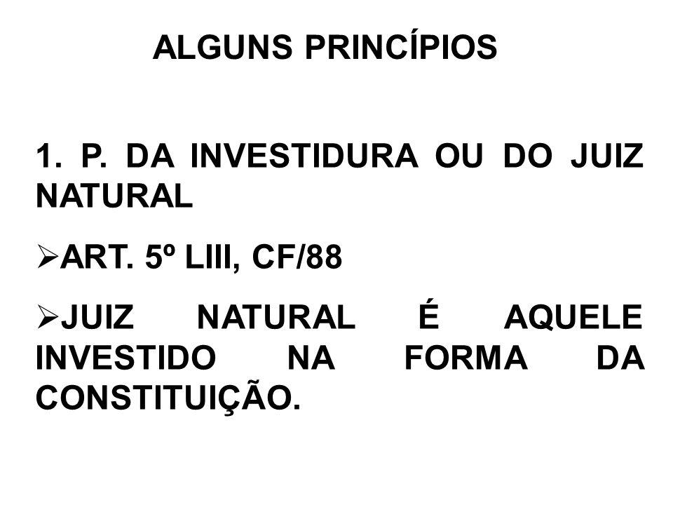 ALGUNS PRINCÍPIOS 1. P. DA INVESTIDURA OU DO JUIZ NATURAL.