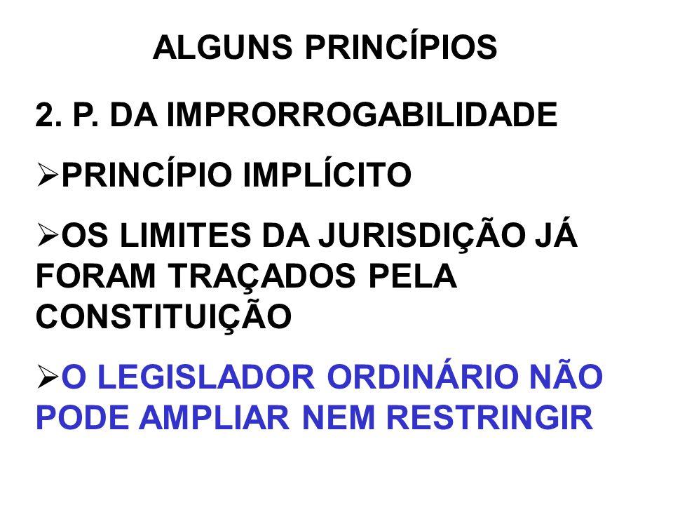 ALGUNS PRINCÍPIOS 2. P. DA IMPRORROGABILIDADE. PRINCÍPIO IMPLÍCITO. OS LIMITES DA JURISDIÇÃO JÁ FORAM TRAÇADOS PELA CONSTITUIÇÃO.