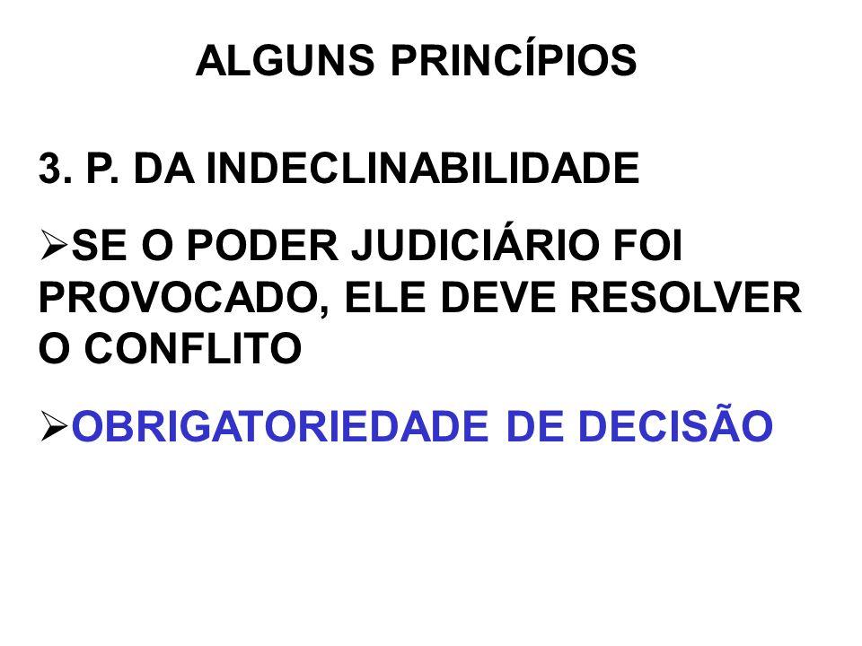 ALGUNS PRINCÍPIOS3. P. DA INDECLINABILIDADE. SE O PODER JUDICIÁRIO FOI PROVOCADO, ELE DEVE RESOLVER O CONFLITO.