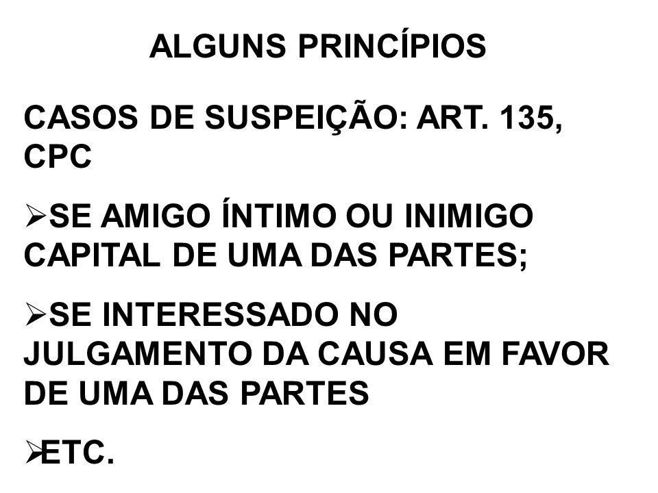 ALGUNS PRINCÍPIOS CASOS DE SUSPEIÇÃO: ART. 135, CPC. SE AMIGO ÍNTIMO OU INIMIGO CAPITAL DE UMA DAS PARTES;