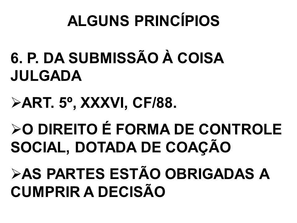 ALGUNS PRINCÍPIOS 6. P. DA SUBMISSÃO À COISA JULGADA. ART. 5º, XXXVI, CF/88. O DIREITO É FORMA DE CONTROLE SOCIAL, DOTADA DE COAÇÃO.
