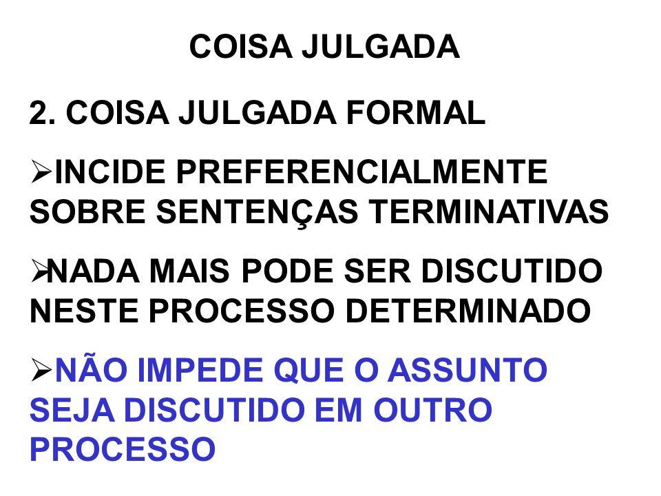 COISA JULGADA2. COISA JULGADA FORMAL. INCIDE PREFERENCIALMENTE SOBRE SENTENÇAS TERMINATIVAS. NADA MAIS PODE SER DISCUTIDO NESTE PROCESSO DETERMINADO.