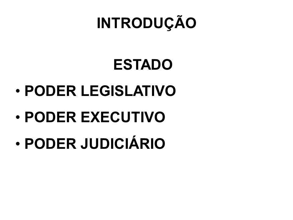 INTRODUÇÃO ESTADO PODER LEGISLATIVO PODER EXECUTIVO PODER JUDICIÁRIO