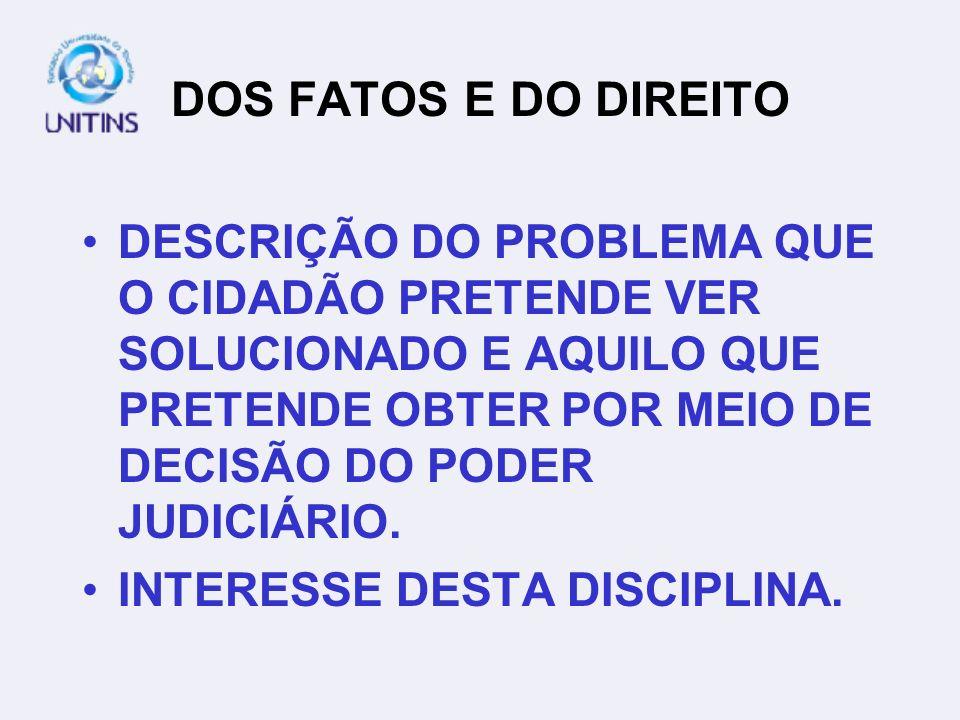 DOS FATOS E DO DIREITO
