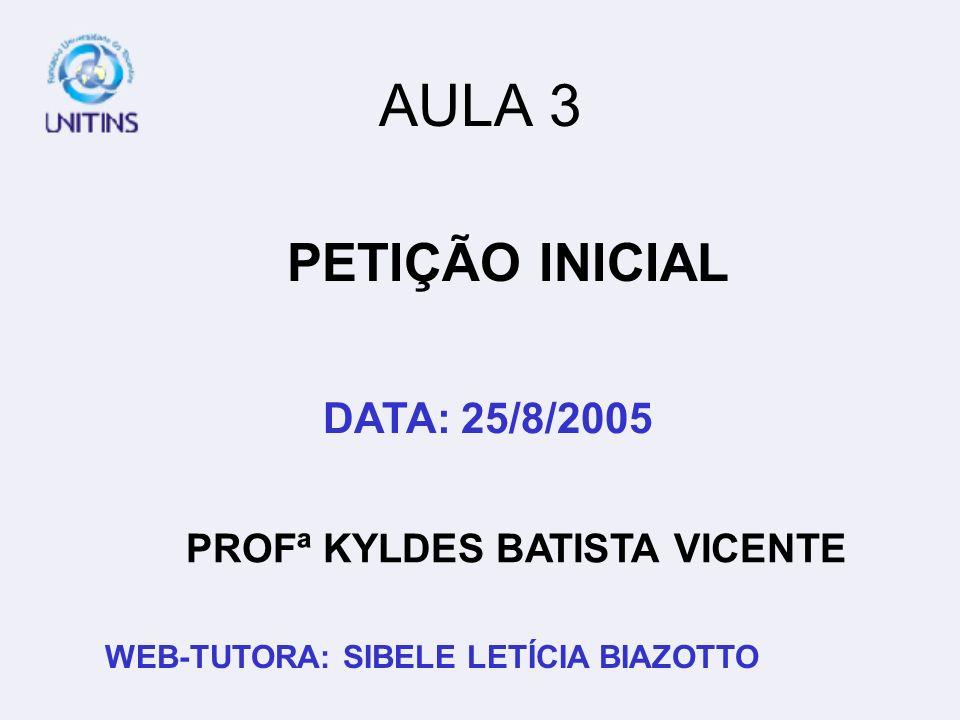 PROFª KYLDES BATISTA VICENTE WEB-TUTORA: SIBELE LETÍCIA BIAZOTTO