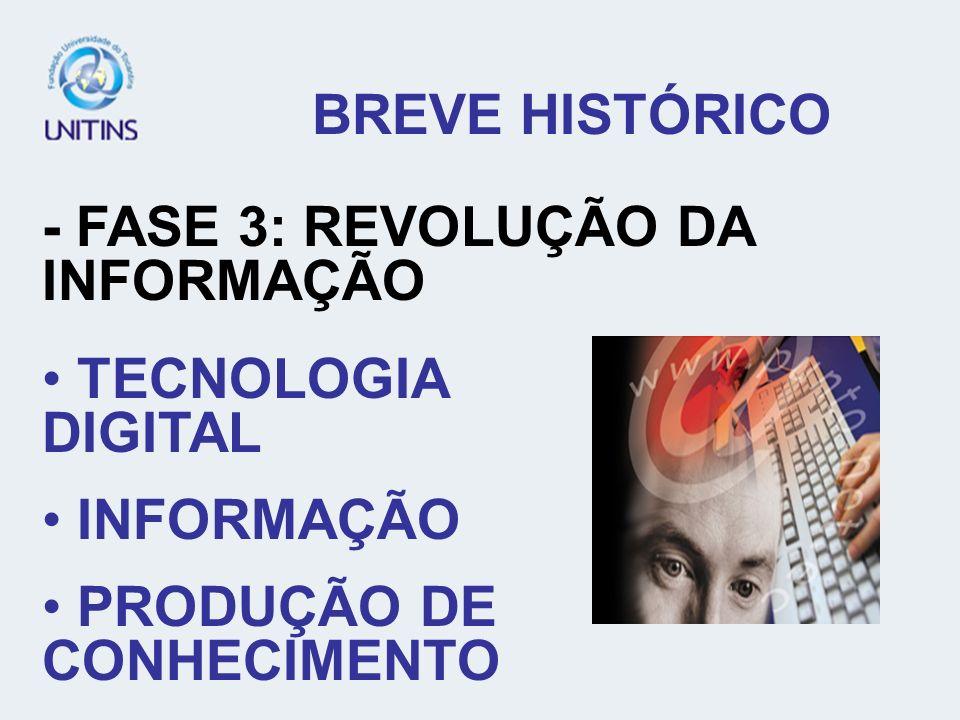 BREVE HISTÓRICO - FASE 3: REVOLUÇÃO DA INFORMAÇÃO.