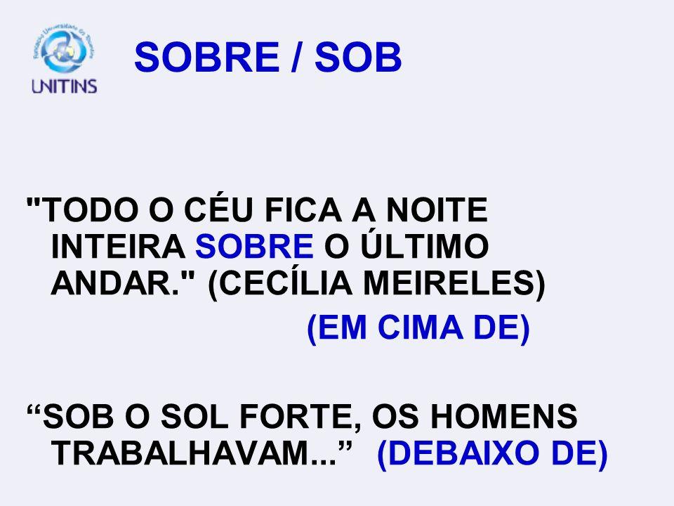 SOBRE / SOB TODO O CÉU FICA A NOITE INTEIRA SOBRE O ÚLTIMO ANDAR. (CECÍLIA MEIRELES) (EM CIMA DE)