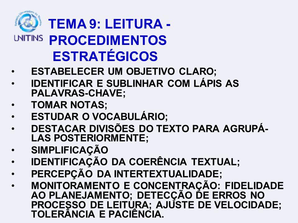 TEMA 9: LEITURA - PROCEDIMENTOS ESTRATÉGICOS