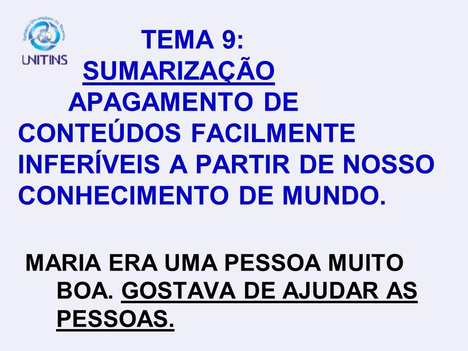 TEMA 9: SUMARIZAÇÃO APAGAMENTO DE CONTEÚDOS FACILMENTE INFERÍVEIS A PARTIR DE NOSSO CONHECIMENTO DE MUNDO.