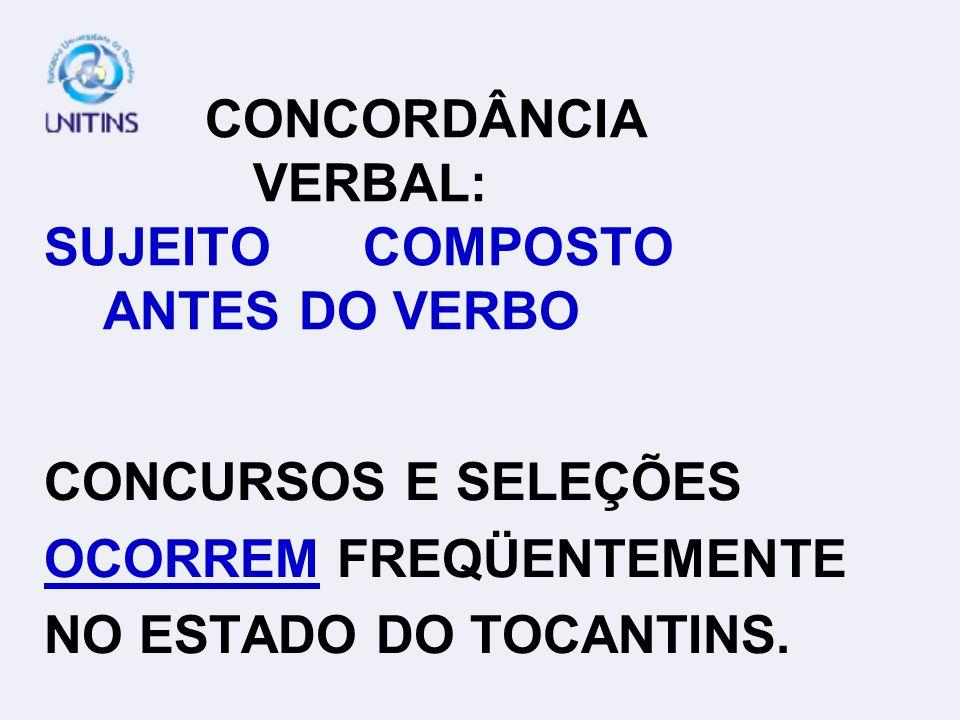 CONCORDÂNCIA VERBAL: SUJEITO COMPOSTO ANTES DO VERBO