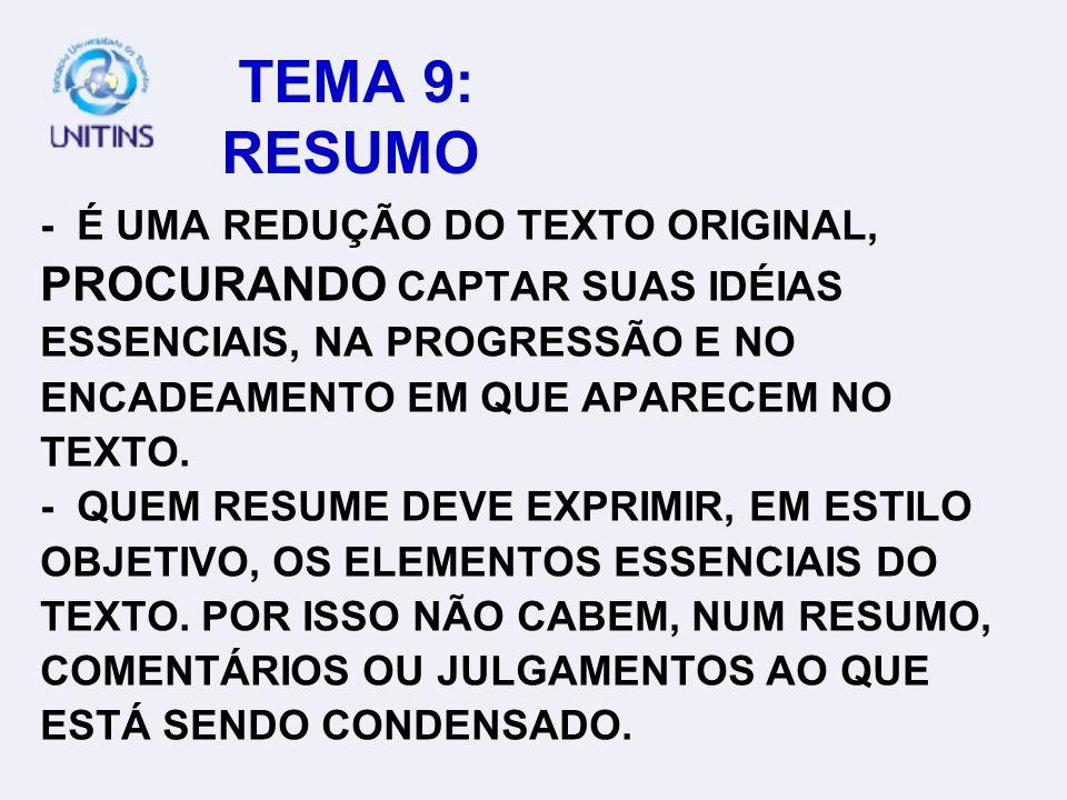 TEMA 9: RESUMO PROCURANDO CAPTAR SUAS IDÉIAS