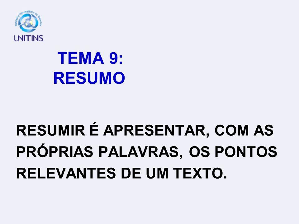 TEMA 9: RESUMORESUMIR É APRESENTAR, COM AS.