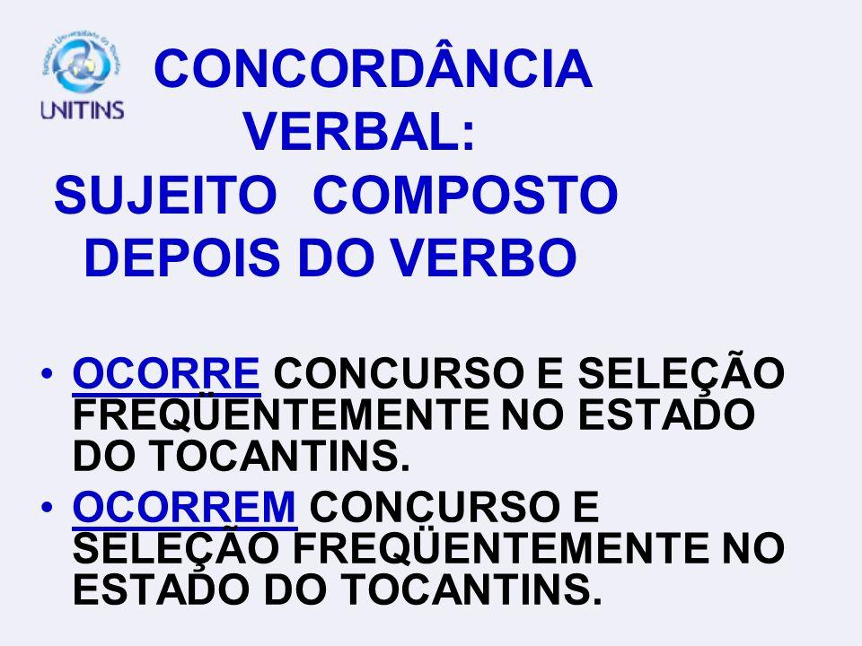 CONCORDÂNCIA VERBAL: SUJEITO COMPOSTO DEPOIS DO VERBO