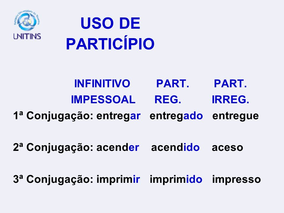 USO DE PARTICÍPIO INFINITIVO PART. PART. IMPESSOAL REG. IRREG.