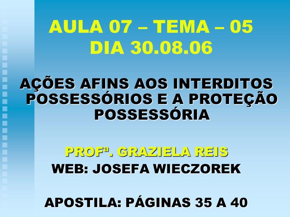 AÇÕES AFINS AOS INTERDITOS POSSESSÓRIOS E A PROTEÇÃO POSSESSÓRIA