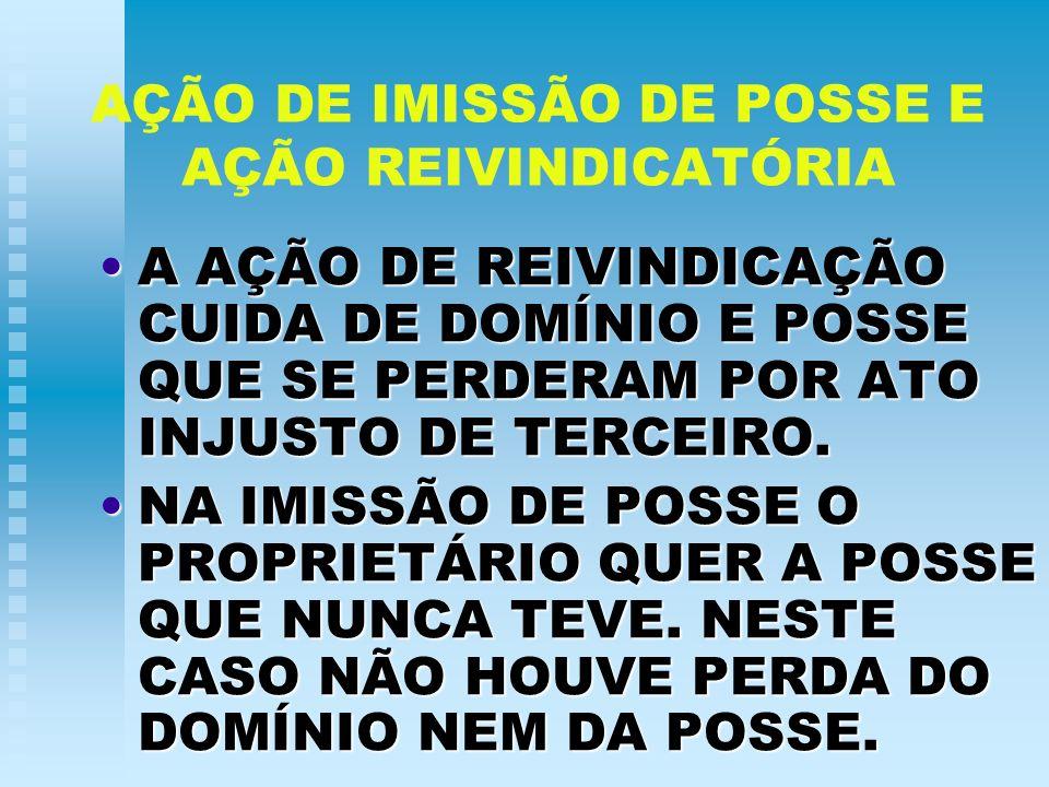 AÇÃO DE IMISSÃO DE POSSE E AÇÃO REIVINDICATÓRIA