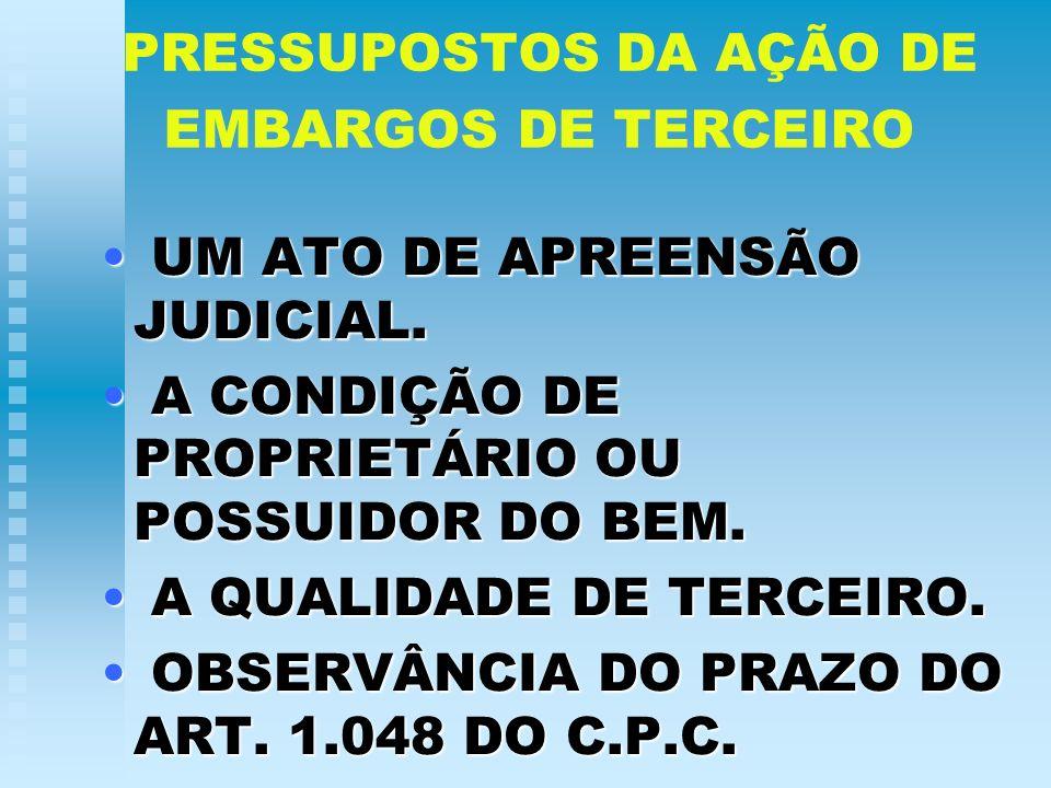 PRESSUPOSTOS DA AÇÃO DE EMBARGOS DE TERCEIRO