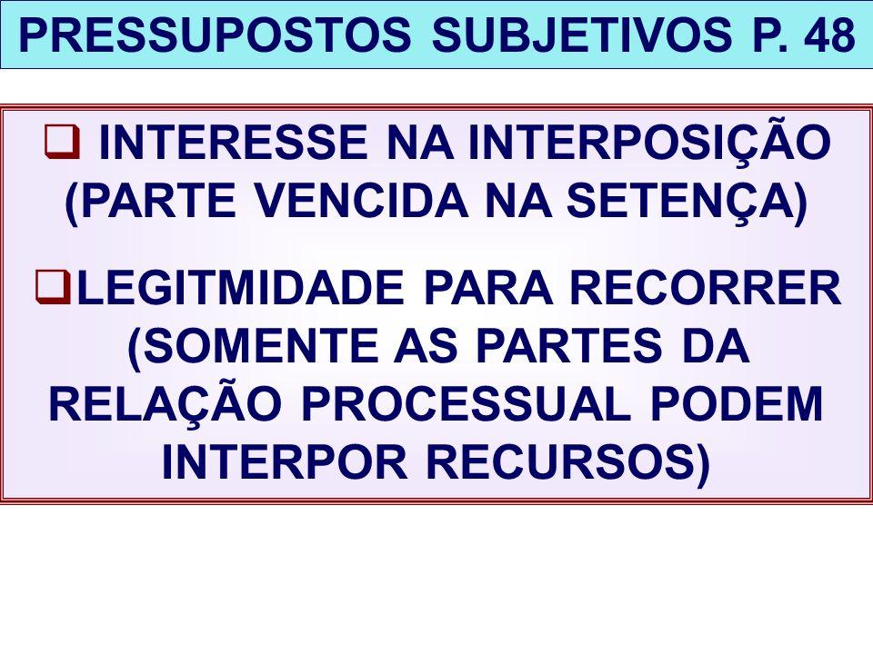 PRESSUPOSTOS SUBJETIVOS P. 48