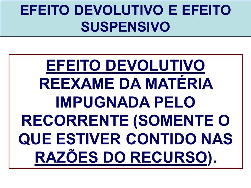 EFEITO DEVOLUTIVO E EFEITO SUSPENSIVO