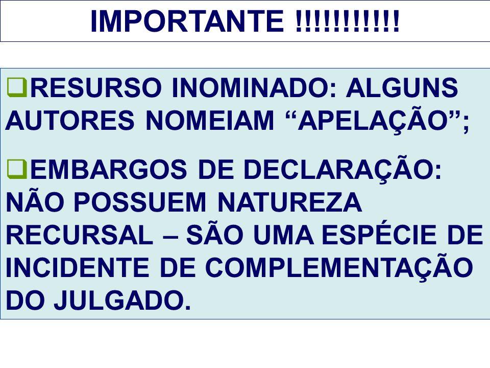 IMPORTANTE !!!!!!!!!!! RESURSO INOMINADO: ALGUNS AUTORES NOMEIAM APELAÇÃO ;